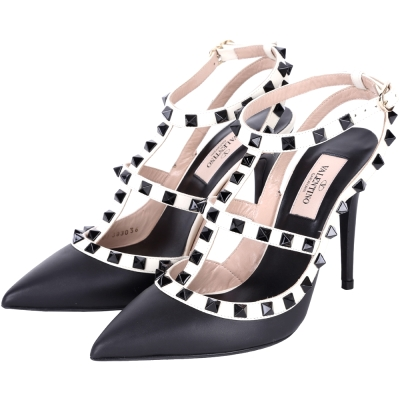 VALENTINO ROCKSTUD ANKLE STRAP 鉚釘繫帶高跟鞋(黑白)