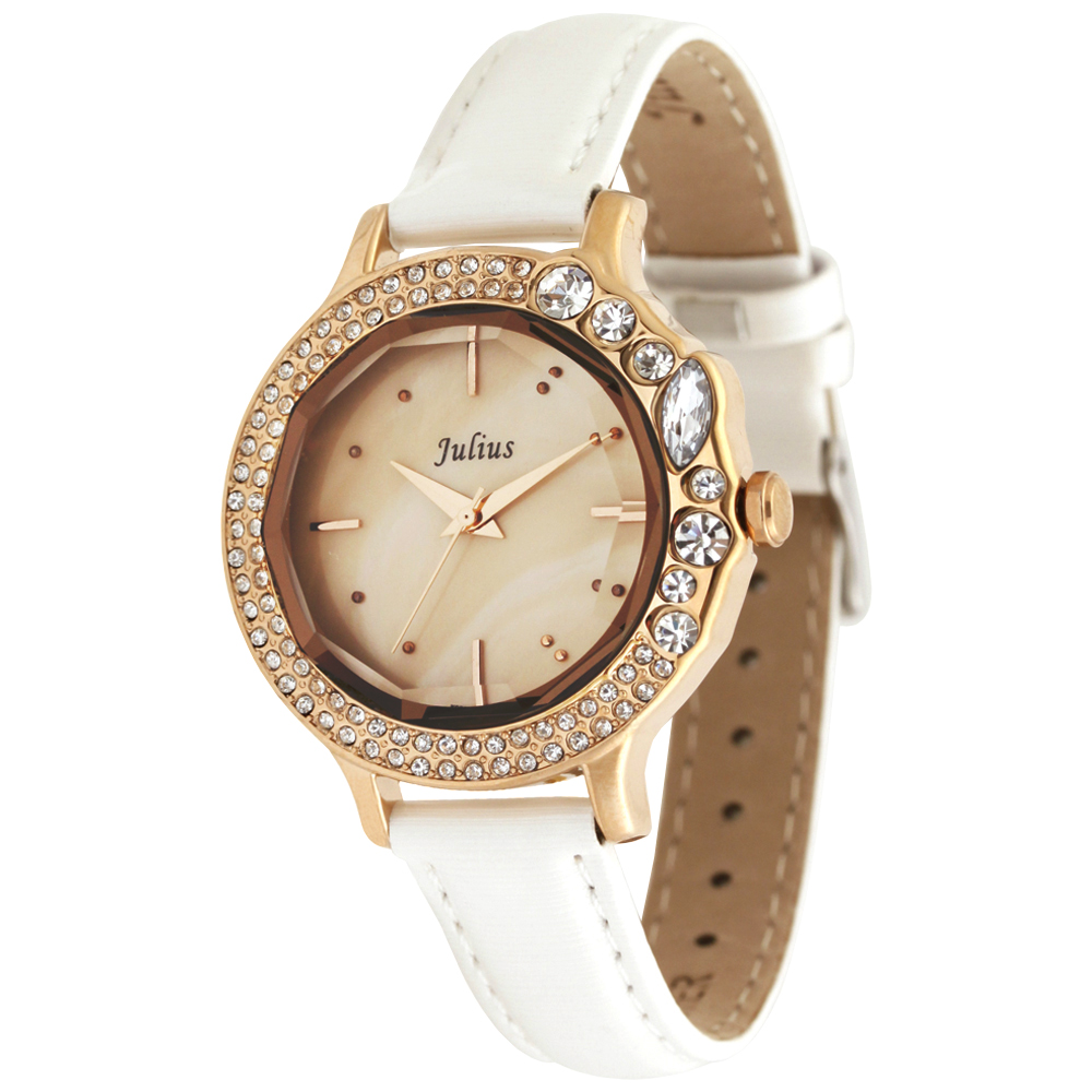 JULIUS聚利時 蜜亞公主滿鑽立體鏡面皮帶腕錶-白色/36mm