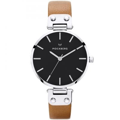 MOCKBERG WERA質感簡約真皮手錶-黑X銀框/34mm