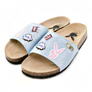 PLAYBOY趣味甜心 可愛塗鴉丹寧布拖鞋-淺藍