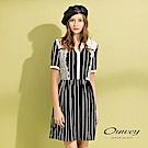 OUWEY歐薇 蕾絲裝飾條紋小V領洋裝(黑)