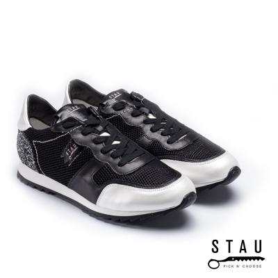 STAU|耀動時尚 復古慢跑鞋-黑色