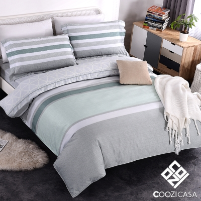 COOZICASA星漾微光 雙人四件式吸濕排汗天絲兩用被床包組