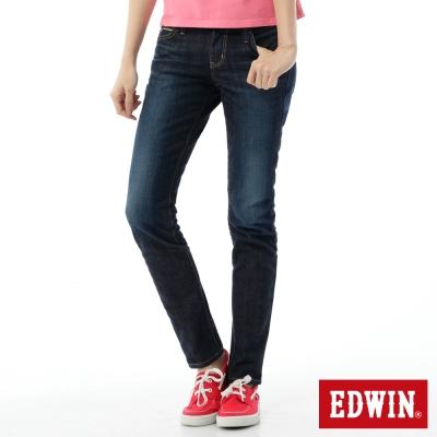 EDWIN 窄直筒 EG繡邊牛仔褲-女-酵洗藍
