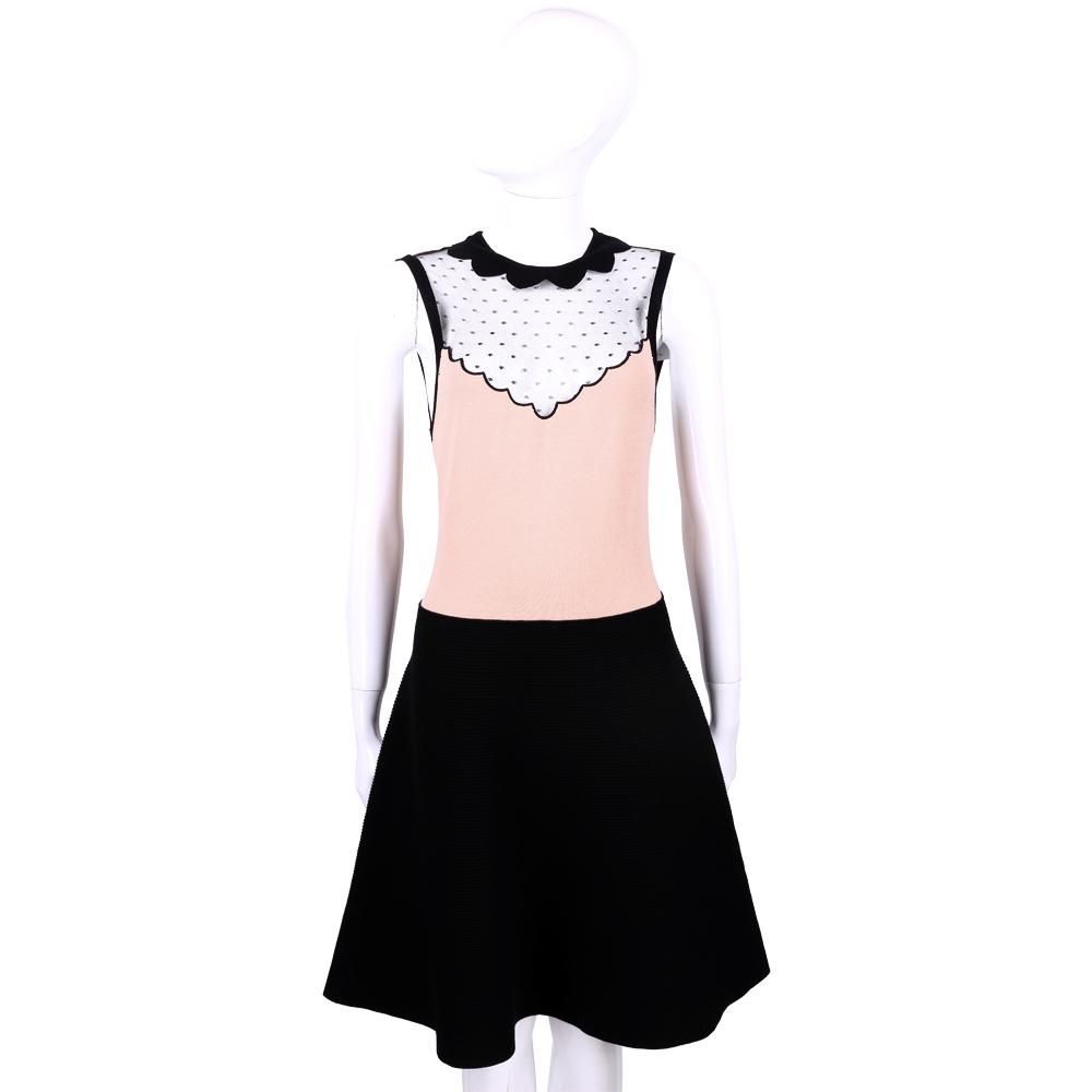 RED VALENTINO 網狀蕾絲拼接設計無袖洋裝(粉x黑色)