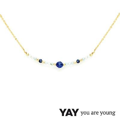 YAY You Are Young 法國品牌 Cleo 藍寶石項鍊 平衡墜設計 金色
