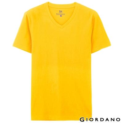 GIORDANO-男裝素色純棉V領短袖TEE-15