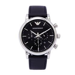 ARMANI 黑色夢想男性三眼計時手錶(AR1828) -黑面/44mm