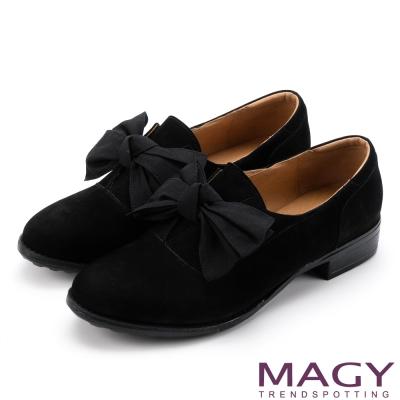 MAGY 微甜學院 織帶蝴蝶結絨面牛皮低跟鞋-黑色