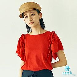 earth music 立體荷葉摺邊拼接寬袖上衣