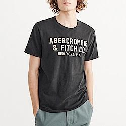 A&F 經典刺繡文字短袖T恤-深灰色 AF Abercr