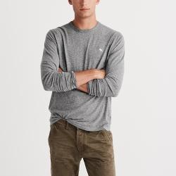A&F 經典刺繡麋鹿長袖素色T恤-灰色 AF Abercrombie