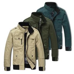 美國熊 騎士風格 合身短版  韓版  立領夾克風衣外套