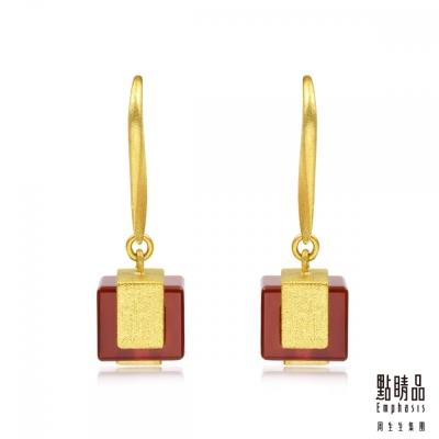 點睛品Emphasis 黃金耳環- g* collection -方形紅瑪瑙