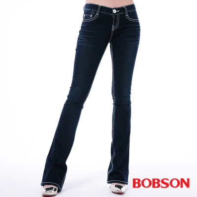BOBSON 女款五彩鑽貼腿小喇叭褲