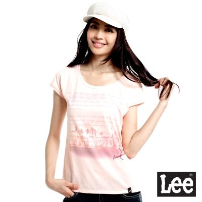 Lee-短袖T恤-連袖寬鬆-女款-淡橘