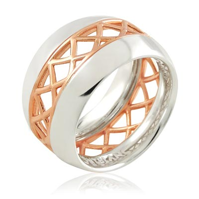 MONT BLANC 萬寶龍 玫瑰金鏤空雙色純銀戒指【 52 、 54 號】