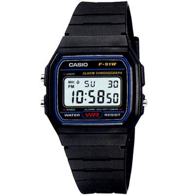 CASIO 運動小子電子錶(F-91W-1A)-藍框