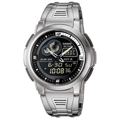 CASIO 測溫雙顯不繡鋼休閒錶(AQF-102WD-1B)-黑