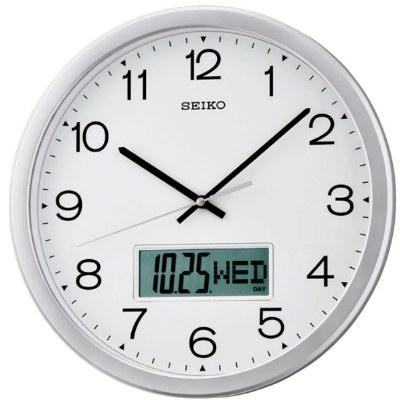 SEIKO 精工掛鐘 辦公室大數字數位顯示雙顯掛鐘 直徑35cm 高雄門市 QXL007S 公司貨 | 名人鐘錶