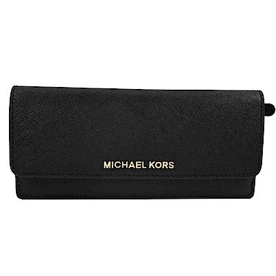 MICHAEL KORS JET SET防刮牛皮簡易式長夾(黑)