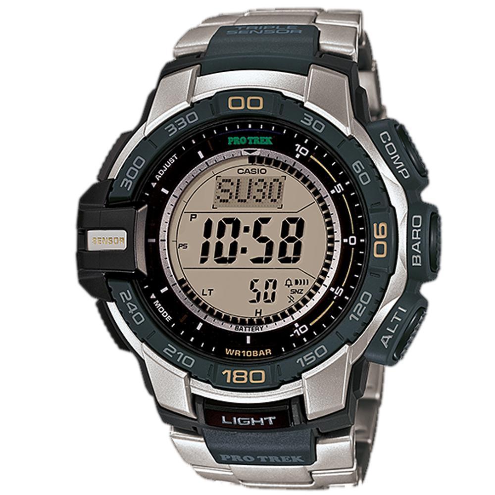 PROTREK 創新技術新三大感應器模組專業登山錶(PRG-270D-7)-不鏽鋼/52.4mm