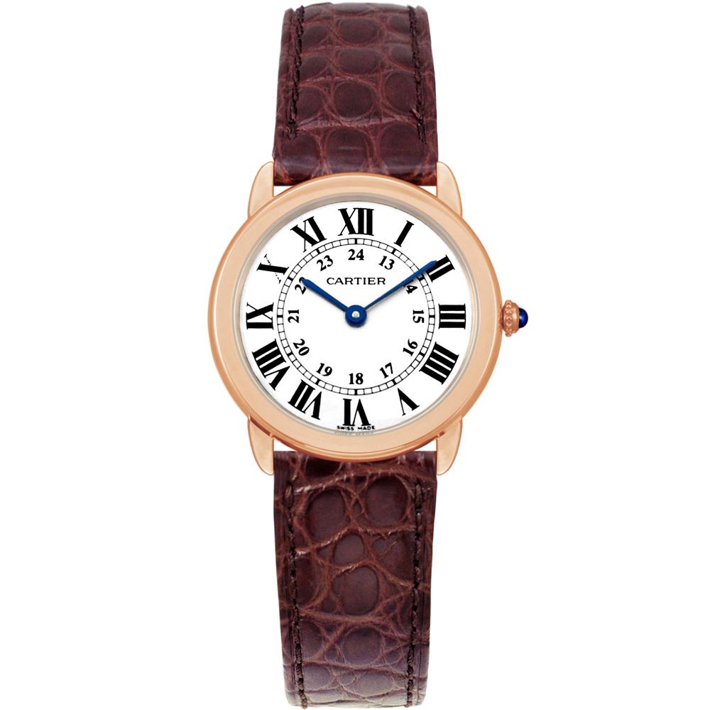CARTIER RONDE SOLO 經典小型18K玫瑰金皮帶腕錶-29mm