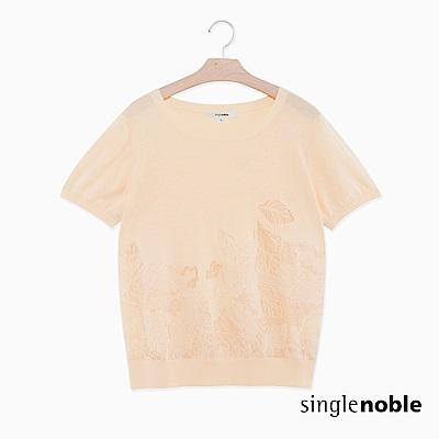 獨身貴族 清新秀氣蕾絲花藝圖騰針織衫(2色)