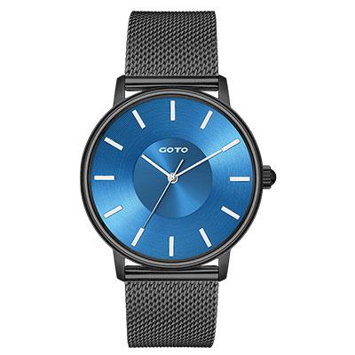 GOTO THINK簡約米蘭時尚手錶-IP黑x藍/43mm