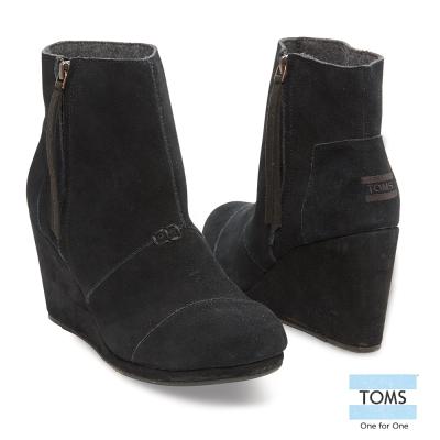TOMS-麂皮高筒楔型鞋-女款-黑