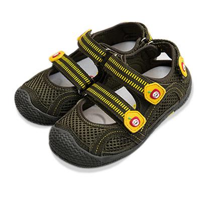 【Dr. Apple 機能童鞋】雙色拼貼休閒護趾涼鞋 綠