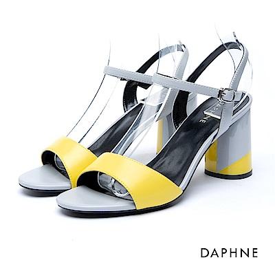 達芙妮DAPHNE 涼鞋-撞色繞踝扣帶粗高跟涼鞋-黃
