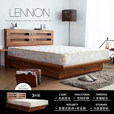 藍儂田園鄉村風系列雙人房間掀床組3件式-床頭+掀床+床墊