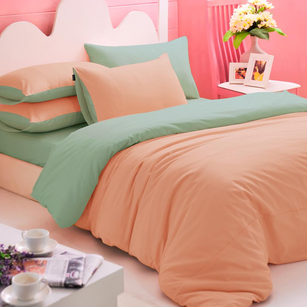 英國Abelia 繽紛混搭 加大四件式天使絨被套床包組-桔*綠
