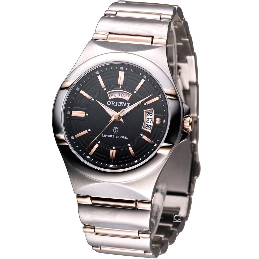ORIENT 東方錶品味紳士時尚腕錶-黑/38mm