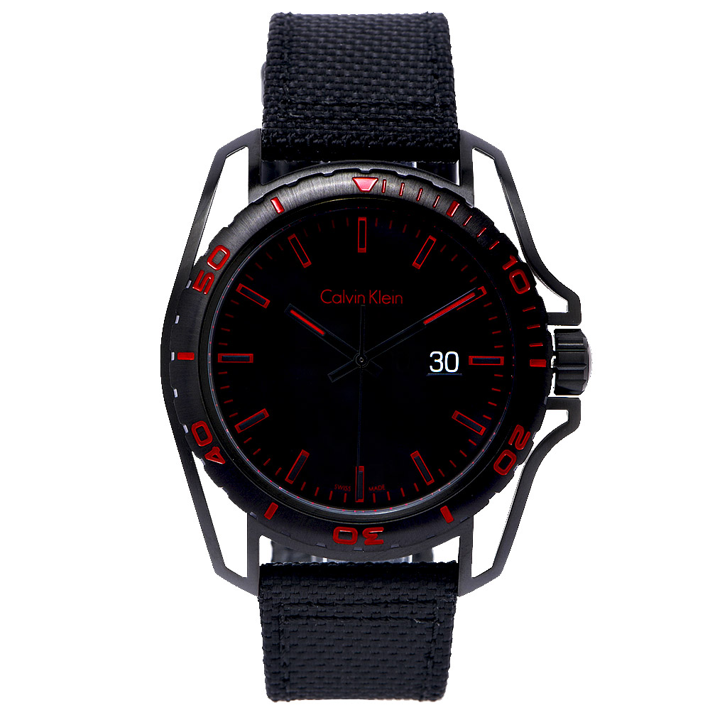 CK Calvin Klein  Earth 撼動世界男性運動型腕錶-黑紅/43mm