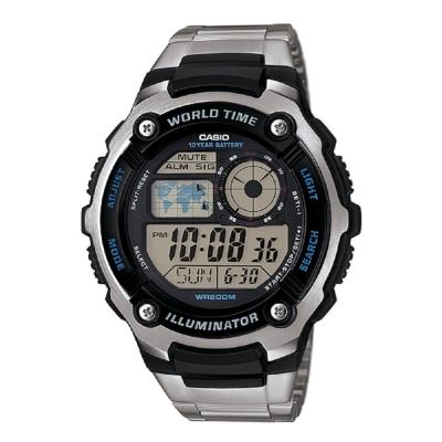 CASIO 城市地圖玩家數位休閒運動不銹鋼錶(AE-2100WD-1A)-/47.7mm