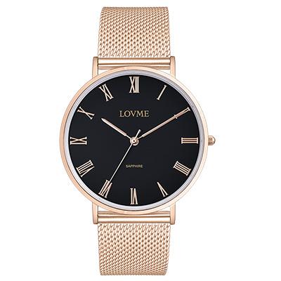 LOVME 學院風米蘭時尚手錶-IP玫x黑/41mm