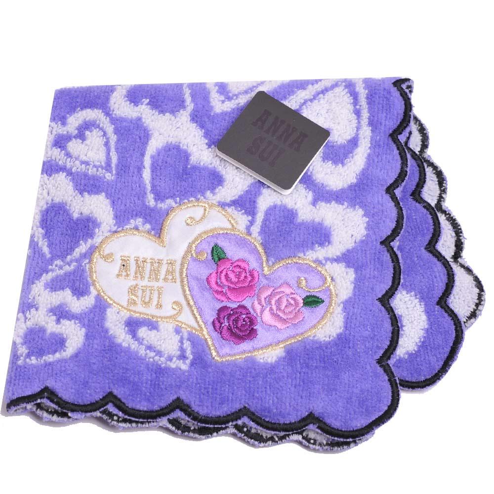 ANNA SUI 浪漫愛心貼布刺繡玫瑰字母LOGO小方巾(紫)