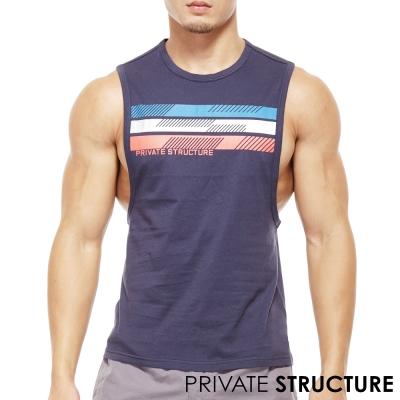 P.S經典款三色帶雙側邊大開口健身運動背心(海藍色)