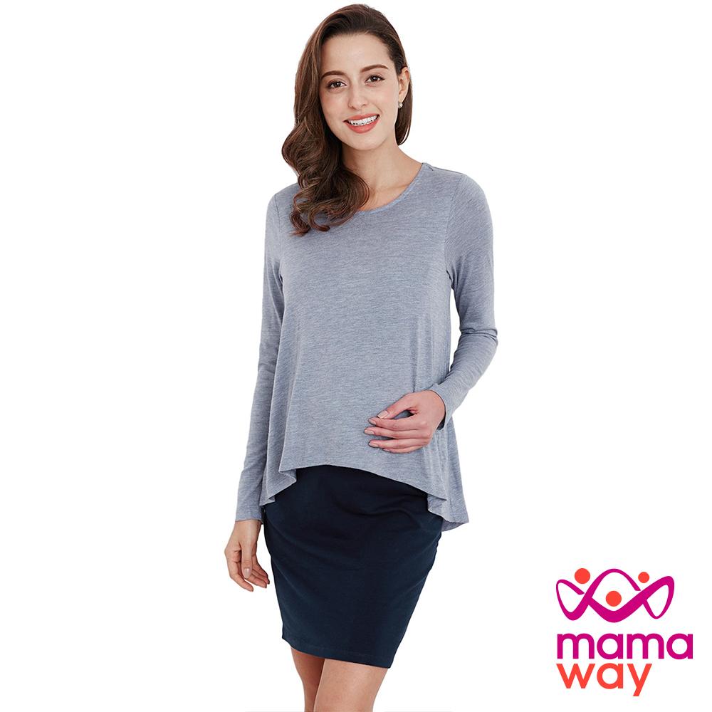 孕婦裝 哺乳衣 假兩件修身顯瘦孕哺洋裝(共二色) Mamaway