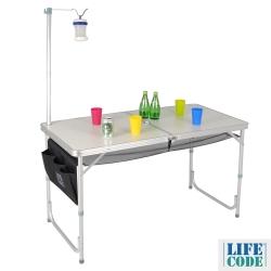 LIFECODE 007鋁合金折疊桌 (附燈架+置物網+側袋)