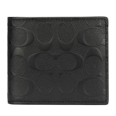 COACH 防刮皮革經典C LOGO壓紋8卡短夾(附可拆式證件夾)-黑色