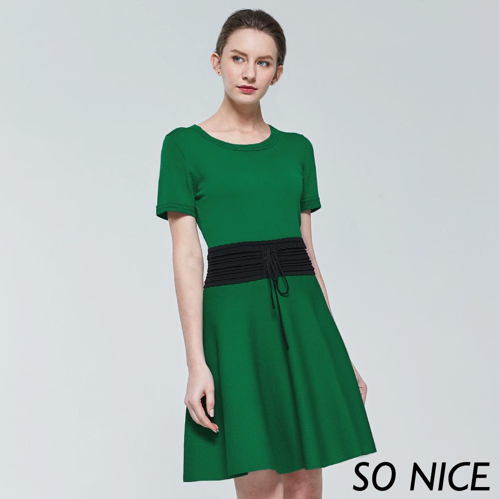 SO NICE都會腰封針織洋裝