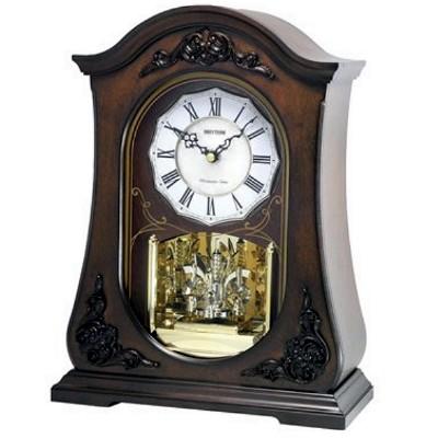 RHYTHM 日本麗聲 歐式古典木製 音樂 座鐘 桌鐘 -白貝殼面/26x34.5cm