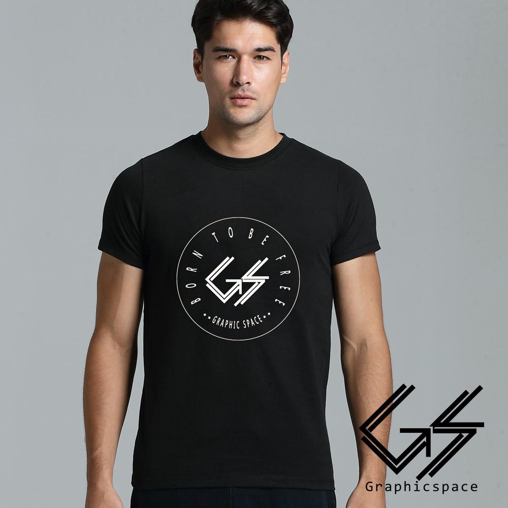 潮流簡約白色線條圓標磨毛水洗T恤 (黑色)-GraphicSpace