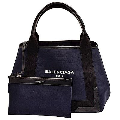 BALENCIAGA NAVY系列帆布X牛皮飾邊手提/肩背托特包(海軍藍X黑)