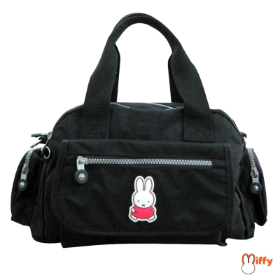 【Miffy 米飛】兩用皺皺提袋(暗夜黑)