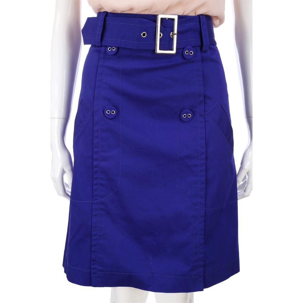PHILOSOPHY-AF 寶藍色釦飾及膝裙(附腰帶)