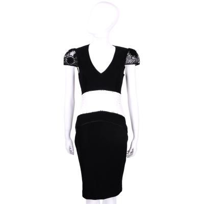 CLASS roberto cavalli 黑白蕾絲拼接設計包袖洋裝